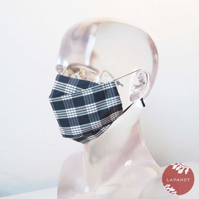 Antimicrobial Silvadur™ + Origami 3d Face Mask • Black Palaka - Black - Face Mask