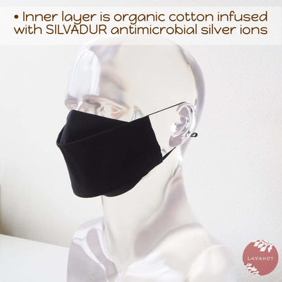 Antimicrobial Silvadur™ + Origami 3d Face Mask • Black Solid - Black - Face Mask