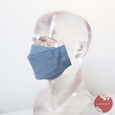 Antimicrobial Silvadur™ + Origami 3d Face Mask • Blue Chambray - Blue - Face Mask