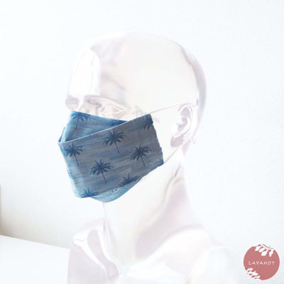 Antimicrobial Silvadur™ + Origami 3d Face Mask • Blue Coconut Grove - Blue - Face Mask