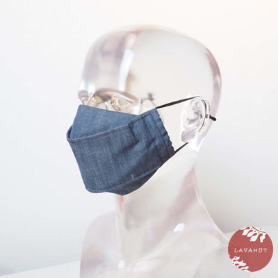 Antimicrobial Silvadur™ + Origami 3d Face Mask • Blue Denim - Blue - Face Mask