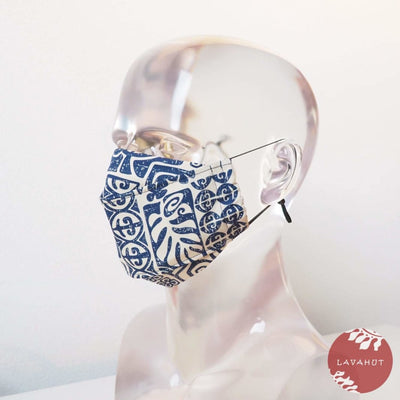 Antimicrobial Silvadur™ + Origami 3d Face Mask • Blue Pictographs - Blue - Face Mask