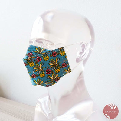 Antimicrobial Silvadur™ + Origami 3d Face Mask • Blue Pineapple Maze - Blue - Face Mask