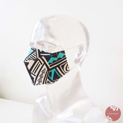 Antimicrobial Silvadur™ + Origami 3d Face Mask • Blue Tribal Tattoo - Blue - Face Mask