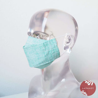 Antimicrobial Silvadur™ + Origami 3d Face Mask • Green Chambray - Green - Face Mask