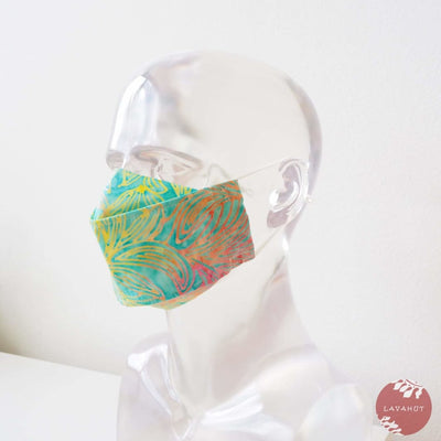 Antimicrobial Silvadur™ + Origami 3d Face Mask • Green Kauai - Green - Face Mask