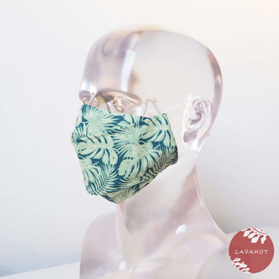 Antimicrobial Silvadur™ + Origami 3d Face Mask • Green Woodland - Green - Face Mask