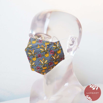 Antimicrobial Silvadur™ + Origami 3d Face Mask • Grey Pineapple Maze - Grey - Face Mask