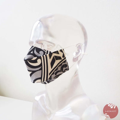 Antimicrobial Silvadur™ + Origami 3d Face Mask • Grey Tribal Tattoo - Grey - Face Mask