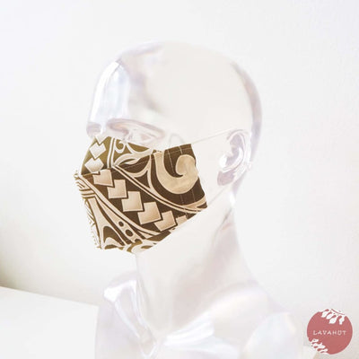 Antimicrobial Silvadur™ + Origami 3d Face Mask • Khaki Tribal Tattoo - Khaki - Face Mask