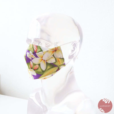 Antimicrobial Silvadur™ + Origami 3d Face Mask • Purple Plumeria Fever - Purple - Face Mask