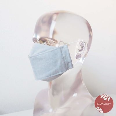 Antimicrobial Silvadur™ + Origami 3d Face Mask • Whitewashed Denim - White - Face Mask