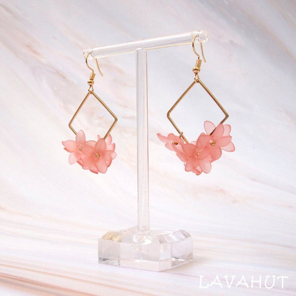 Aria Square Pink Drop Earrings - Earrings