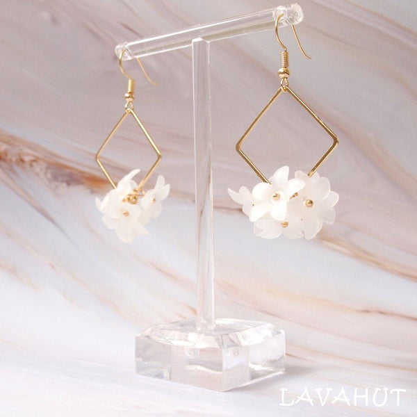 Aria Square White Drop Earrings - Earrings
