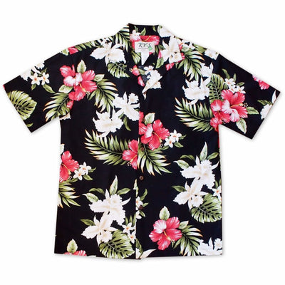Aulani Black Hawaiian Cotton Shirt - S / Black - Mens Shirts