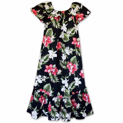 Aulani Black Long Ruffle Hawaiian Muumuu Dress - s / Black - Women's Dress