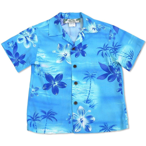 Aurora Blue Hawaiian Boy Shirt - Boys Hawaiian Shirts