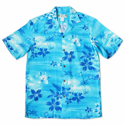 Aurora Blue Hawaiian Rayon Shirt - s / Blue - Men's Shirts