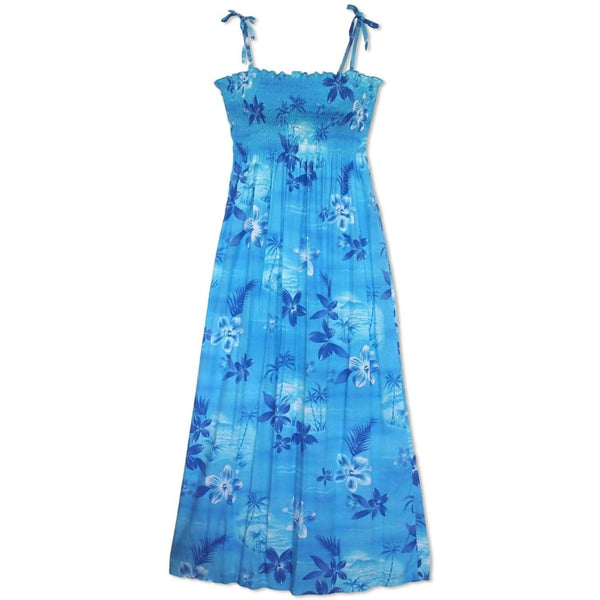 Aurora Blue Maxi Hawaiian Dress - Womens Dress