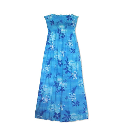 Aurora Blue Maxi Hawaiian Dress - One Size / Blue - Womens Dress