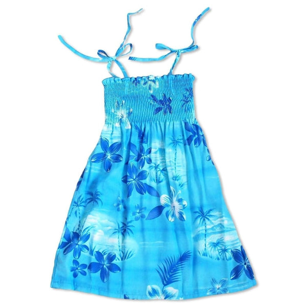 Aurora Blue Sunkiss Hawaiian Girl Dress - Girls Hawaiian Dresses