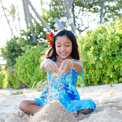 Aurora Blue Sunkiss Hawaiian Girl Dress - Girl's Hawaiian Dresses