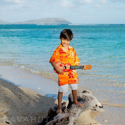 Aurora Orange Hawaiian Boy Shirt - Boys Hawaiian Shirts