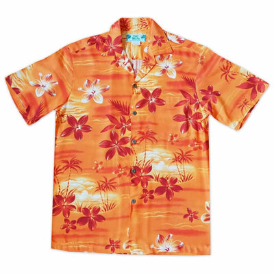 Aurora Orange Hawaiian Rayon Shirt - s / Orange - Men's Shirts