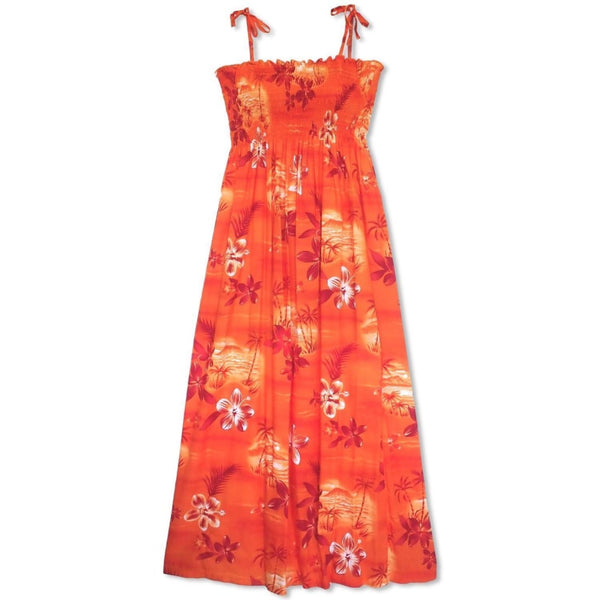 Aurora Orange Maxi Hawaiian Dress - Womens Dress