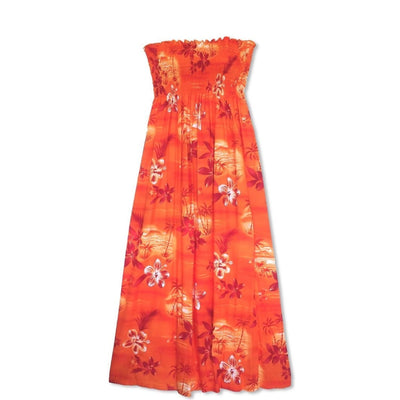 Aurora Orange Maxi Hawaiian Dress - One Size / Orange - Womens Dress