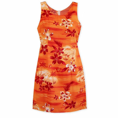 Aurora Orange Short Hawaiian Tank Dress - Women's Dress