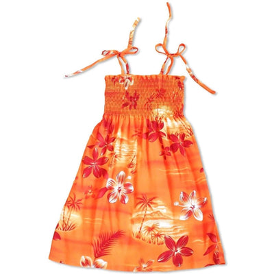 Aurora Orange Sunkiss Hawaiian Girl Dress - s (2 - 4) / Orange - Girl's Hawaiian Dresses