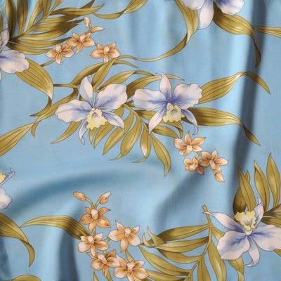 Bamboo Orchid Baby Blue Hawaiian Rayon Fabric by the Yard - Baby Blue - Fabric