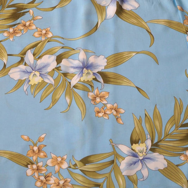 Bamboo Orchid Baby Blue Hawaiian Rayon Fabric By The Yard - Fabric