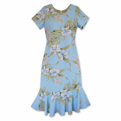 Bamboo Orchid Baby Blue Laka Hawaiian Dress - s / Baby Blue - Women's Dress