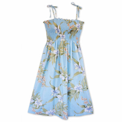 Bamboo Orchid Baby Blue Moonkiss Hawaiian Dress - One Size / Baby Blue - Women's Dress