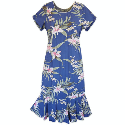 Bamboo Orchid Blue Laka Hawaiian Dress - s / Blue - Women's Dress