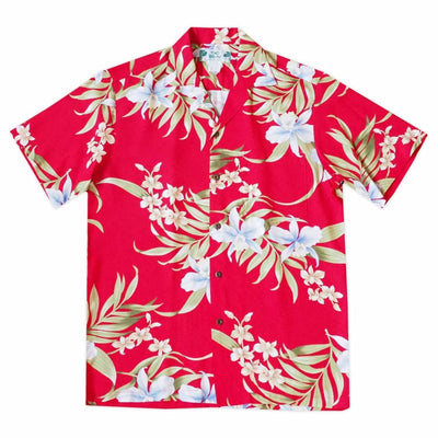 Bamboo Orchid Red Hawaiian Rayon Shirt - s / Red - Men's Shirts