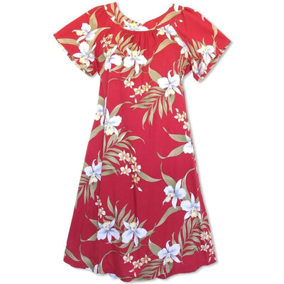 Bamboo Orchid Red Hawaiian Rayon Tea Muumuu Dress - Women's Dress
