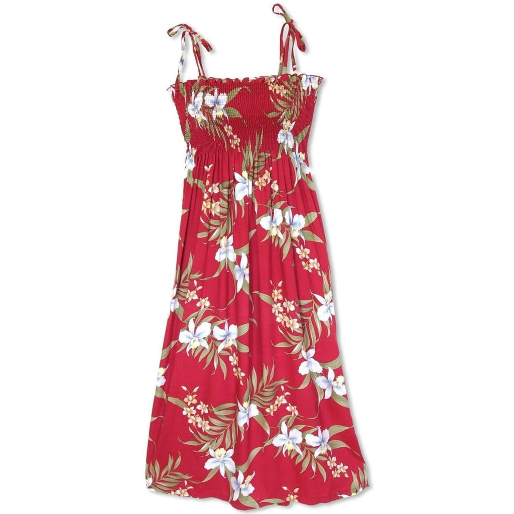 Bamboo Orchid Red Maxi Hawaiian Dress - One Size / Red - Womens Dress
