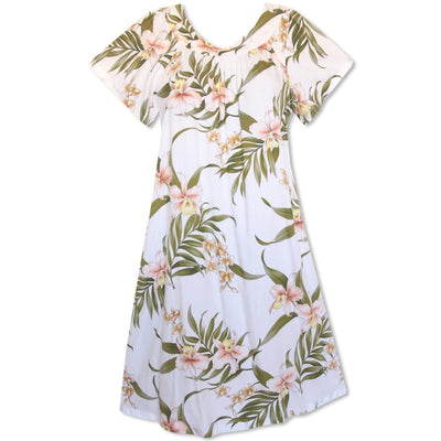 Bamboo Orchid White Hawaiian Rayon Tea Muumuu Dress - Women's Dress