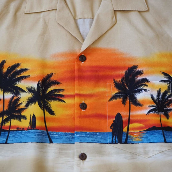 Banzai Tan Hawaiian Border Shirt - Mens Shirts