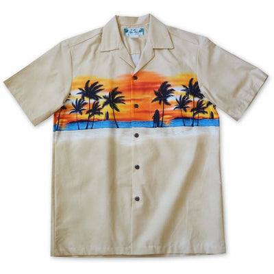 Banzai Tan Hawaiian Border Shirt - s / Tan - Men's Shirts