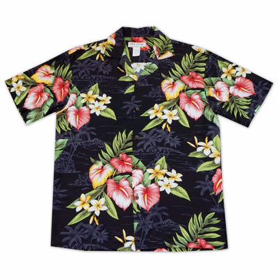Black Anthurium Dream Hawaiian Rayon Shirt - Xs / Black - Men's Shirts