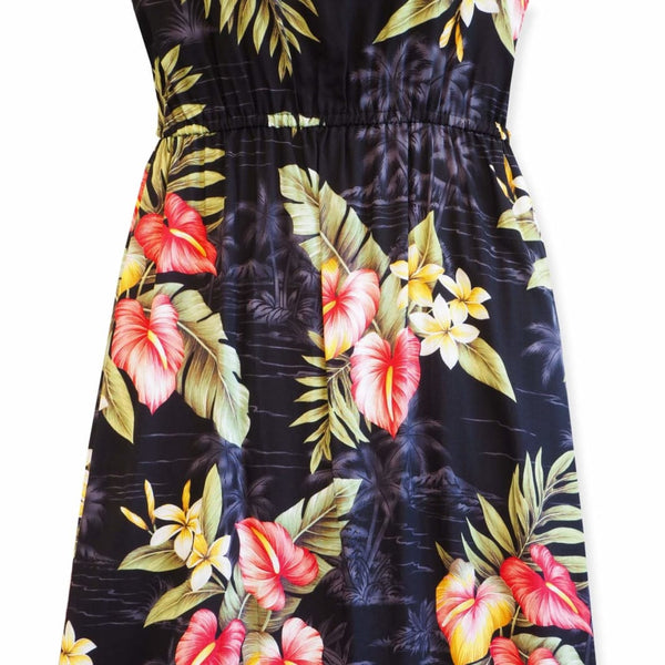 Black Anthurium Dream Long Hawaiian Naomi Dress - Womens Dress