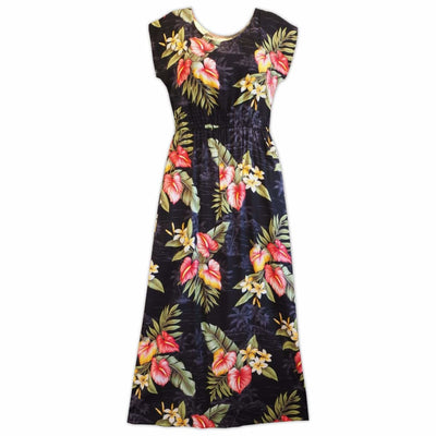 Black Anthurium Dream Long Hawaiian Naomi Dress - Xs / Black - Women's Dress