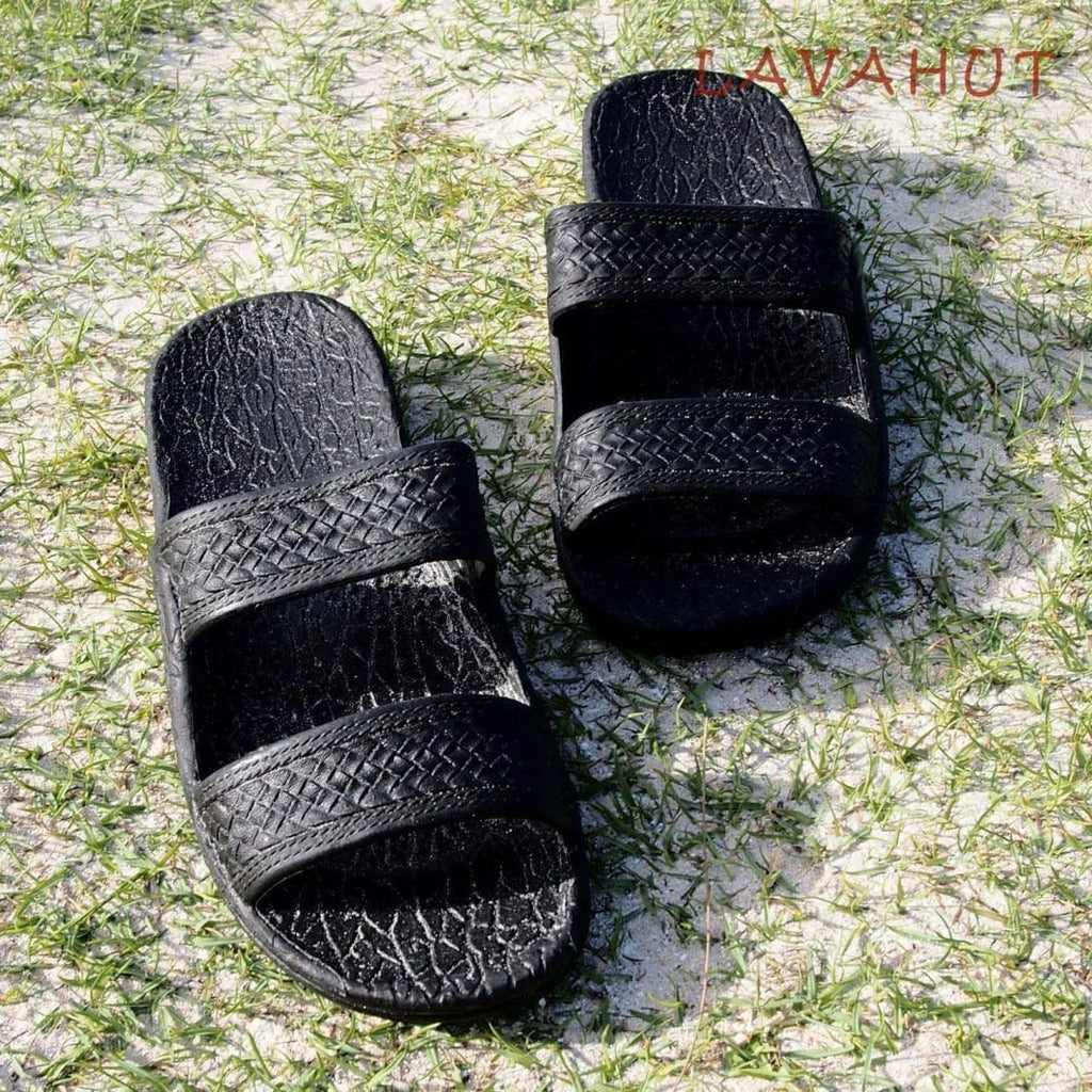Black Classic Jandals® - Pali Hawaii Sandals - Hawaiian Sandals