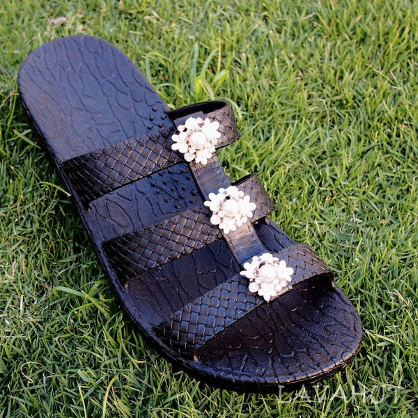 Black Jaya Pearl Jandals® - Pali Hawaii - Hawaiian Sandals