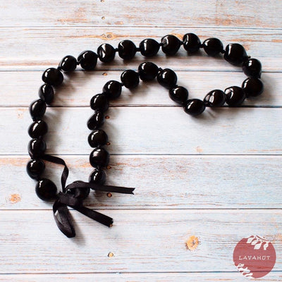 Black Kukui Nut Hawaiian Lei - Black - Lei