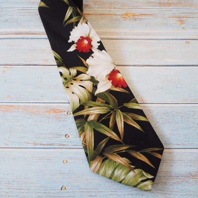 Black Orchid Fun Hawaiian Necktie - Black / One Size - Necktie